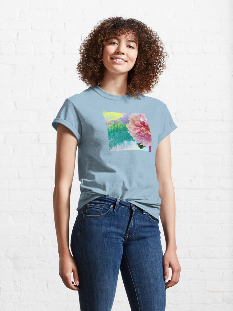 Alternate view of Abstract Painting-Pink Peony-Art and Nature Classic T-Shirt
