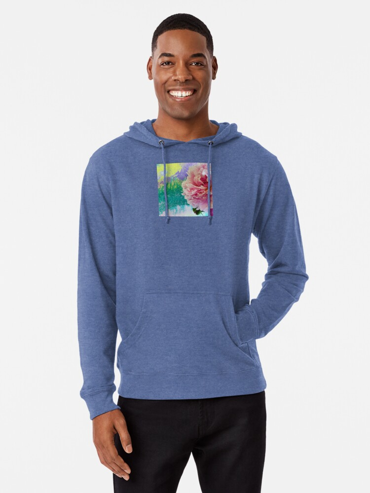 Alternate view of Abstract Painting-Pink Peony-Art and Nature Lightweight Hoodie