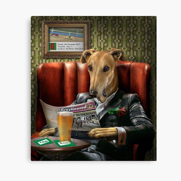 Greyhound Dog Portrait - Rusty Canvas Print
