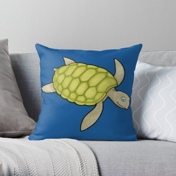 Happy Sea Turtle Throw Pillow