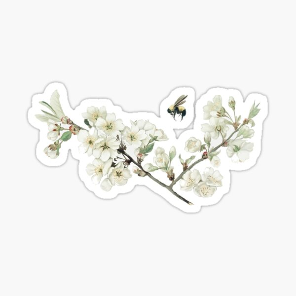 vintage flowers and bees Sticker