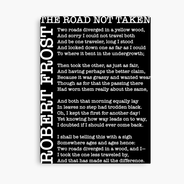 Copy of The Road Not Taken by Robert Frost Canvas Print