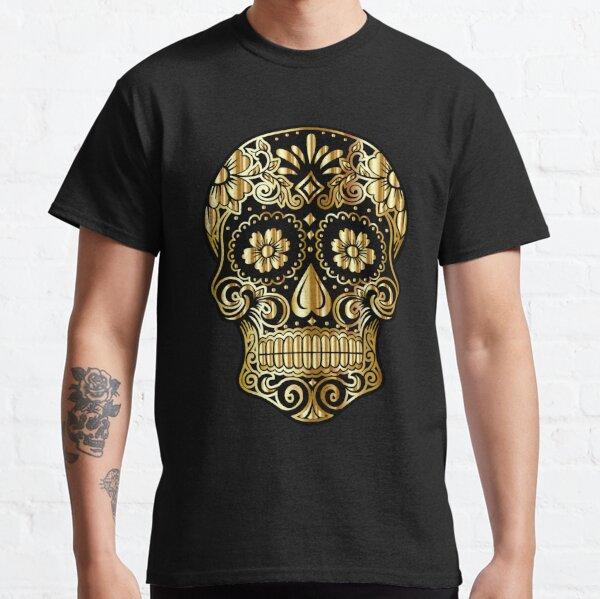 Calavera de oro mexicana Día de muertos Halloween Camiseta clásica