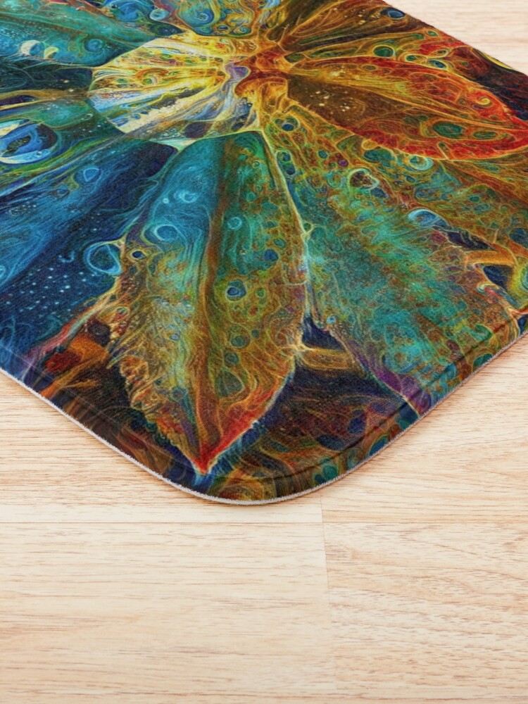 Alternate view of Abstract digital painting of extraterrestrial flowers Bath Mat
