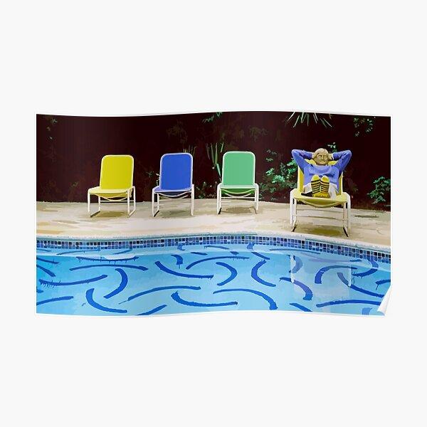 David Hockney Relaxing Vector Art Poster