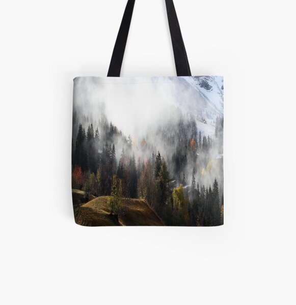 Mountain Fog All Over Print Tote Bag