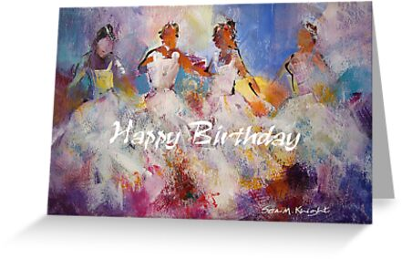 flamenco dancers painting happy birthday card by ballet dance artist - Birthday Card Art
