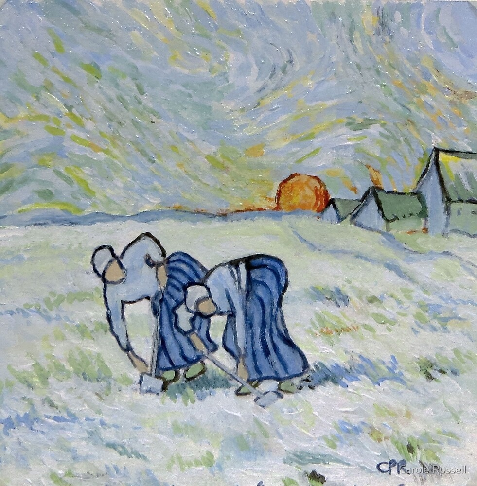 My version of a Van Gogh Painting - Two Peasant Women Digging in Field with Snow (1853-1890) by Carole Russell