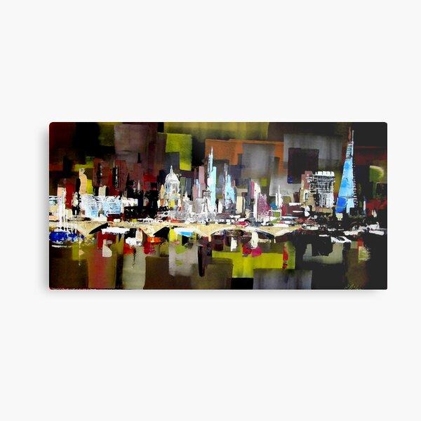 London City Skyline Abstract Painting Metal Print