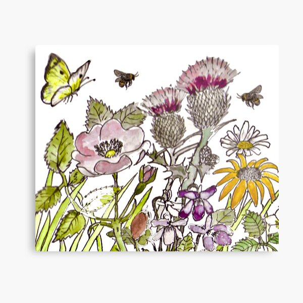 English Wildflowers butterfly bees Metal Print