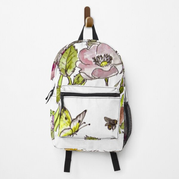 English Wildflowers butterfly bees Backpack