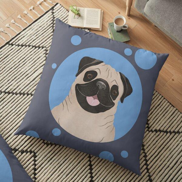 Pug portrait Floor Pillow