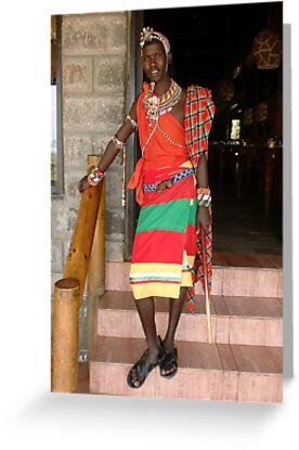 Masai Warrior Kenya by Monika-J-Wright