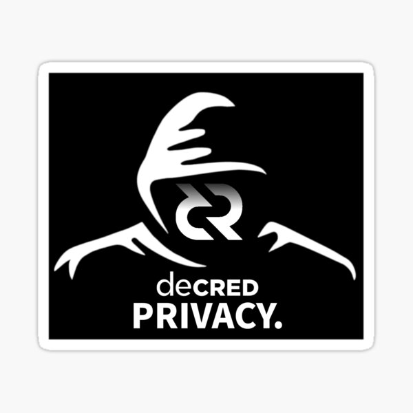 (sticker) Decred privacy ™ v2 'Design timestamped by https://timestamp.decred.org/' Sticker
