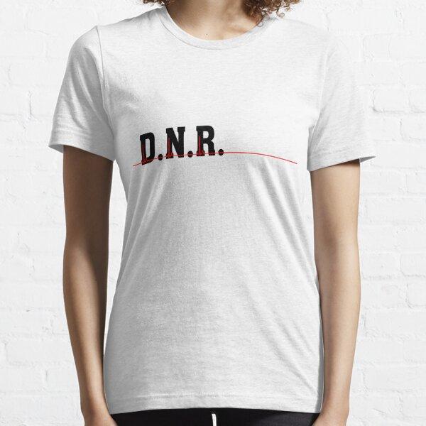 DNR Do Not Resuscitate black text red heartbeat  Essential T-Shirt