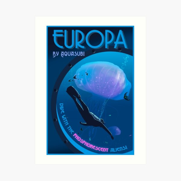 Space Travel Poster - Life on Europa Art Print