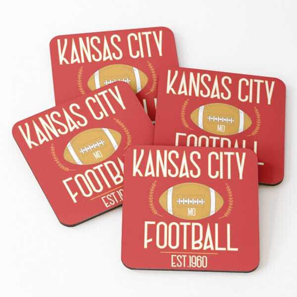 Kansas City 2020,Vintage KC Football Missouri Retro Gift Coasters (Set of 4)