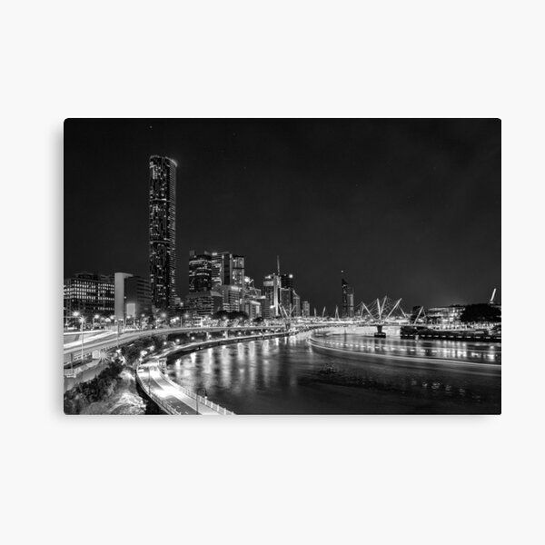 Photography of Brisbane River & cityscape night lights in black and white Canvas Print