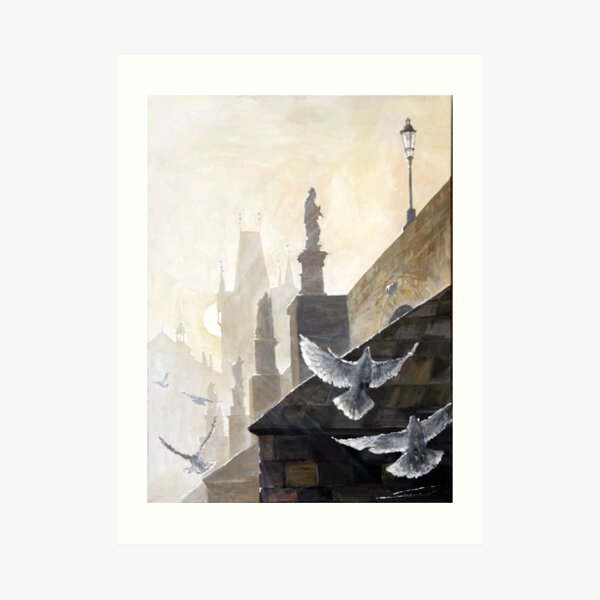 Prague Morning on the Charles Bridge  Art Print