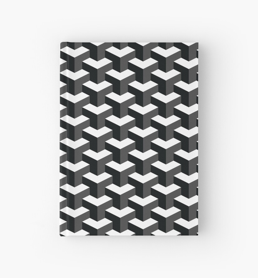 Black and white cube pattern 3d effect hardcover journals by fakemirror redbubble - Black n white designs ...