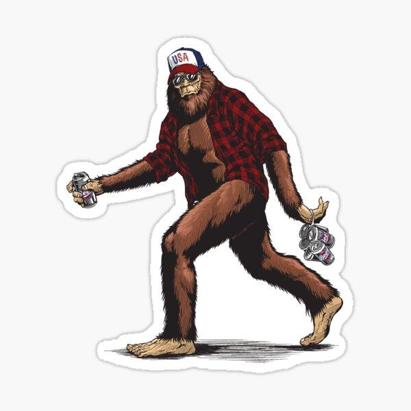 Walking USA American hillbilly Sasquatch Sticker