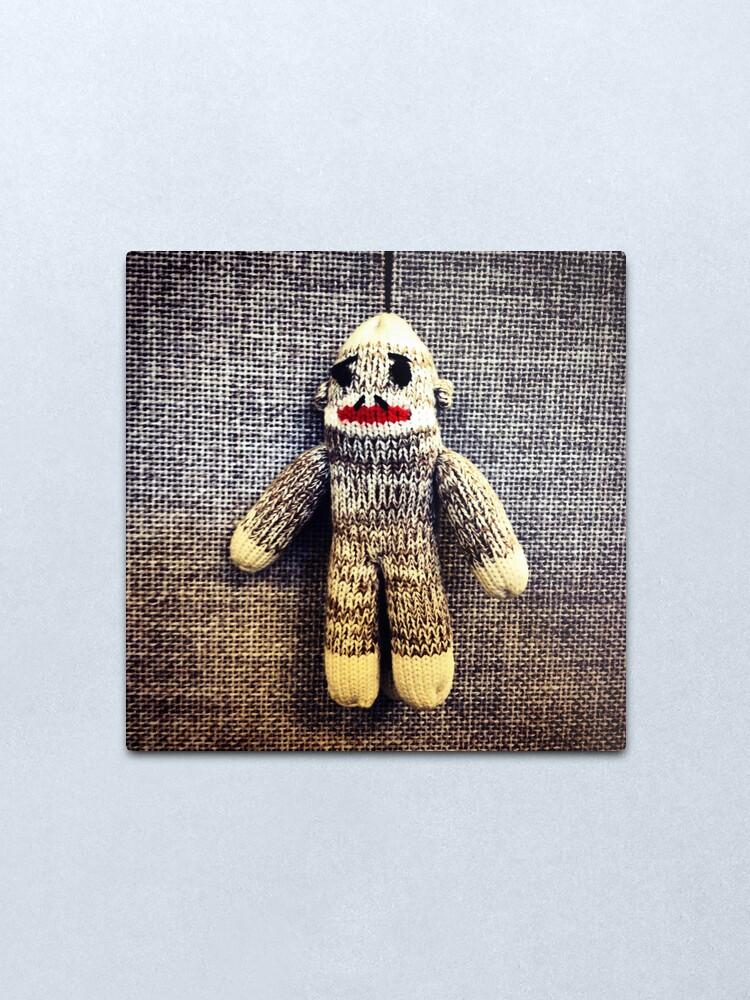 Alternate view of Sock Monkey Metal Print