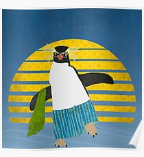 Northern Rockhopper Penguin on Spring Break Poster