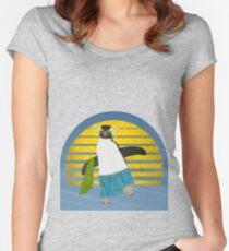Northern Rockhopper Penguin on Spring Break Women's Fitted Scoop T-Shirt