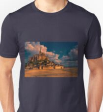 France. Normandy. Mont Saint-Michel in pink light. Unisex T-Shirt