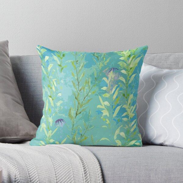 Abstract Watercolor Seaweed with Jellyfish on Watercolor Blue Throw Pillow