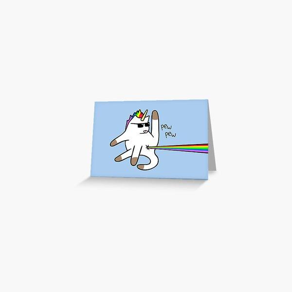 Unicorn Cat Rainbow Butt Laser Greeting Card