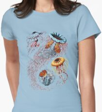 Colourful Jellyfish Marine Animals Illustration Vintage Dictionary Book Page,Discomedusae Women's Fitted T-Shirt