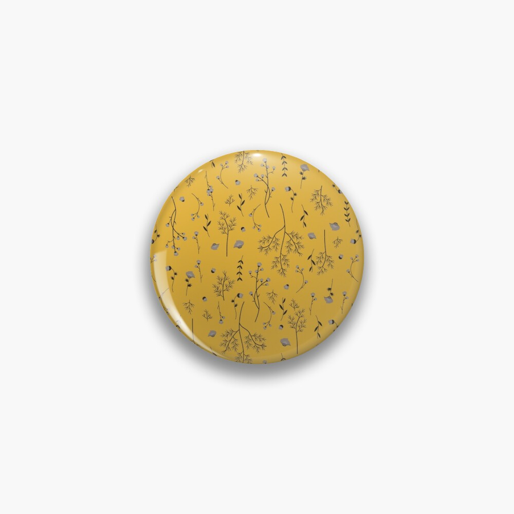 Mustard Yellow Spring Flower Pattern Pin