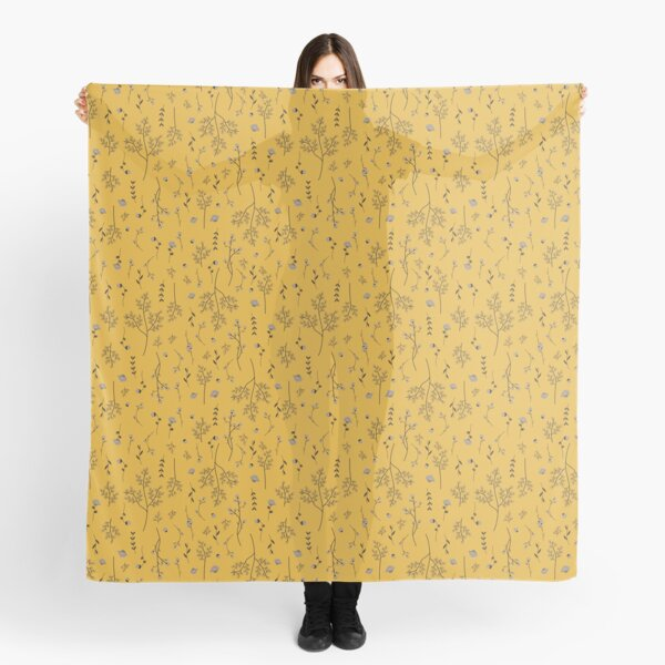Mustard Yellow Spring Flower Pattern Scarf