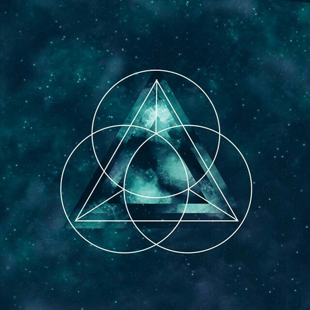 Blue Geometric Astronomical Triangle and Circles by pdgraphics