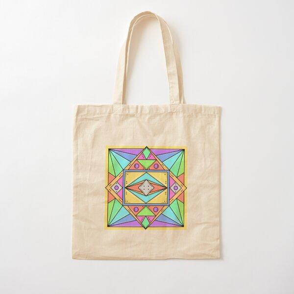 Geometric Design Neon Colours Cotton Tote Bag