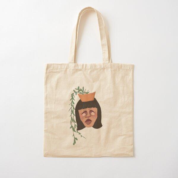 Sad Plant Girl Cotton Tote Bag