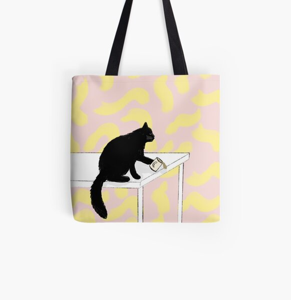 Colorful Coffee Cat All Over Print Tote Bag