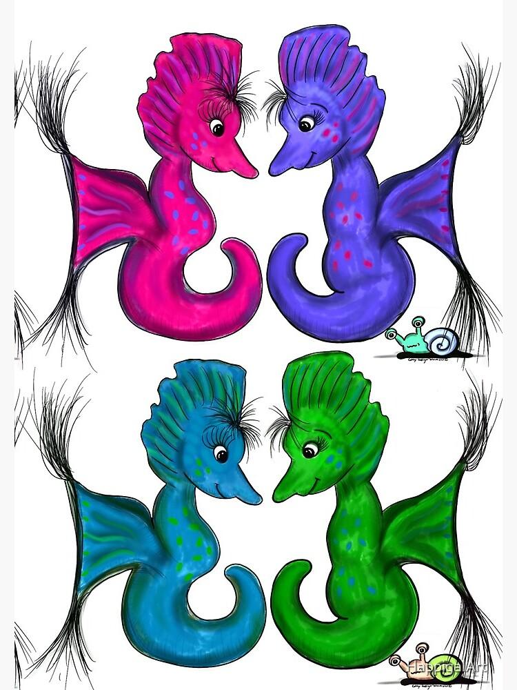 New Sea Love Seahorse Family Rainbow by HappigalArt