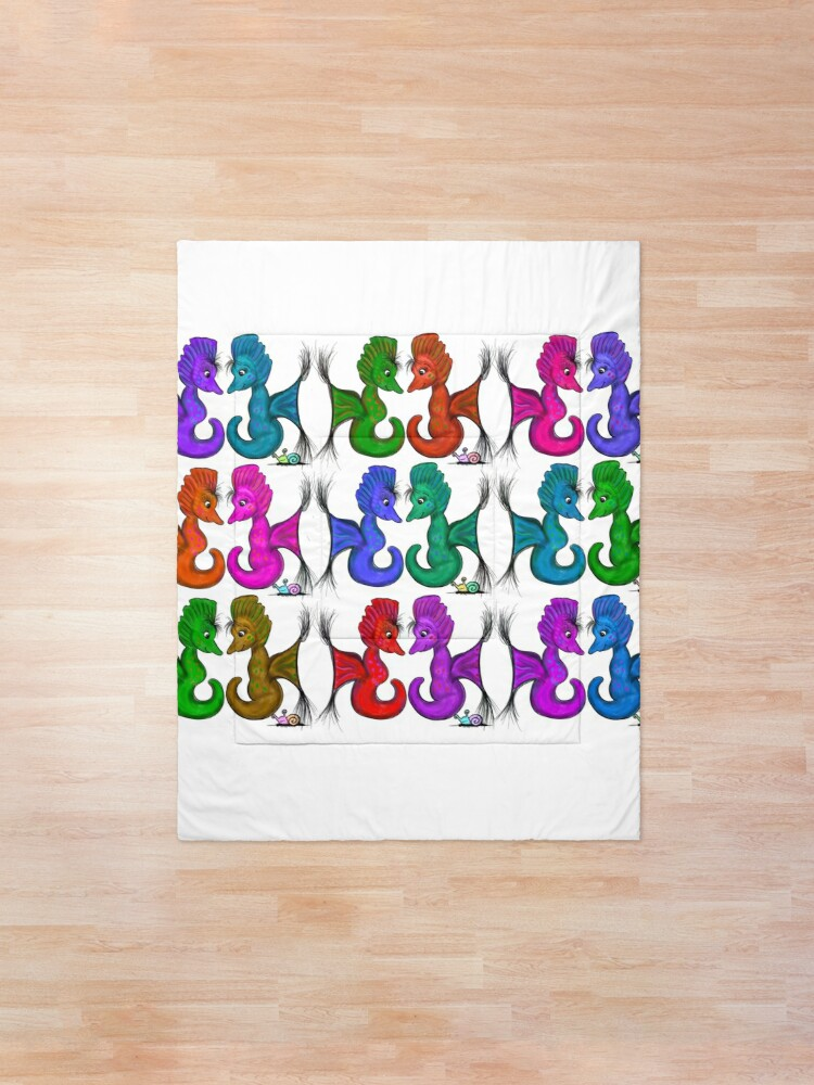 Alternate view of New Sea Love Seahorse Family Rainbow Comforter