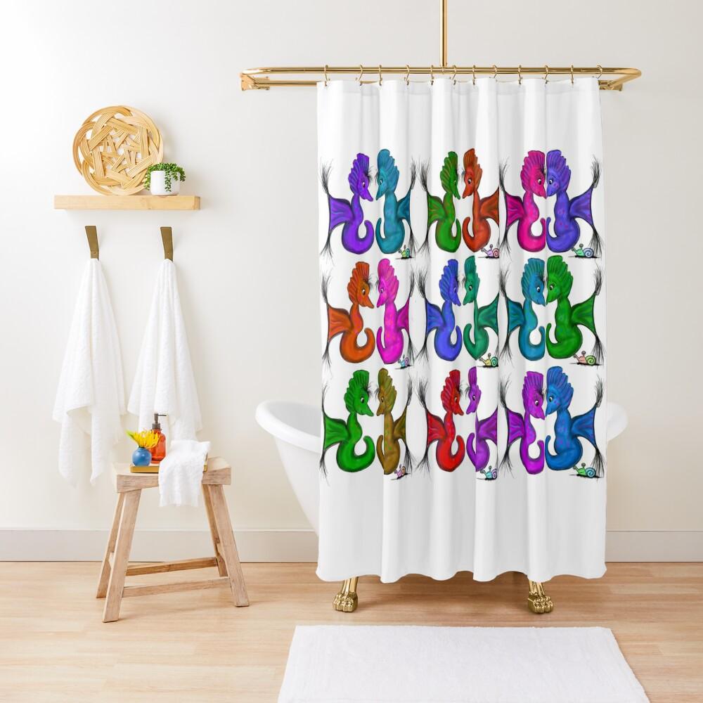 New Sea Love Seahorse Family Rainbow Shower Curtain