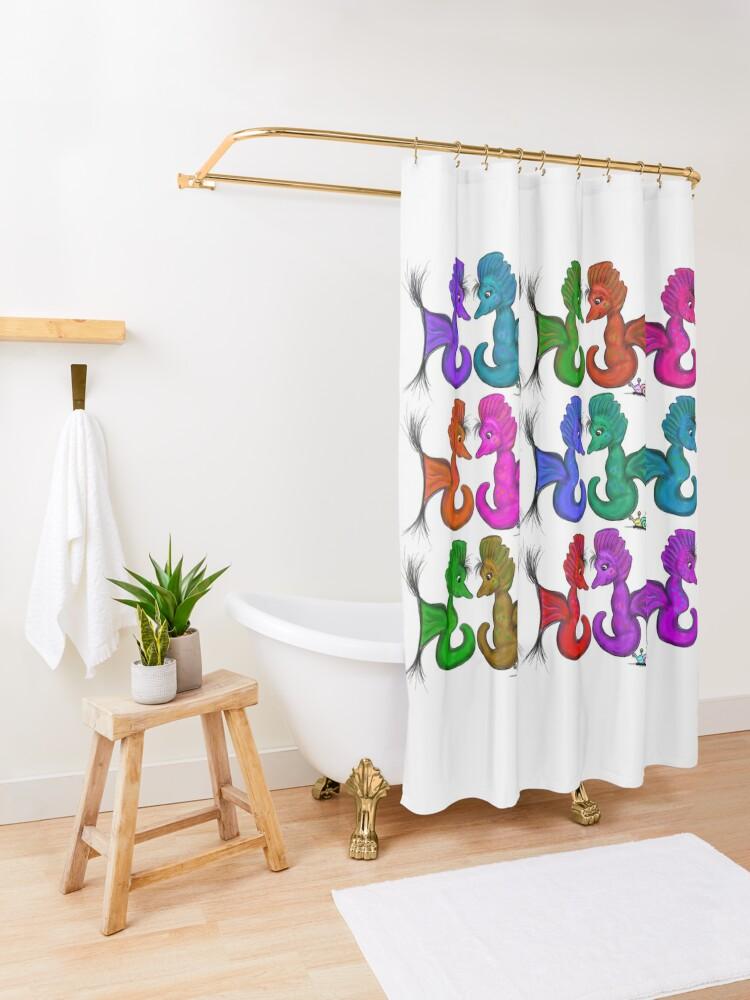 Alternate view of New Sea Love Seahorse Family Rainbow Shower Curtain