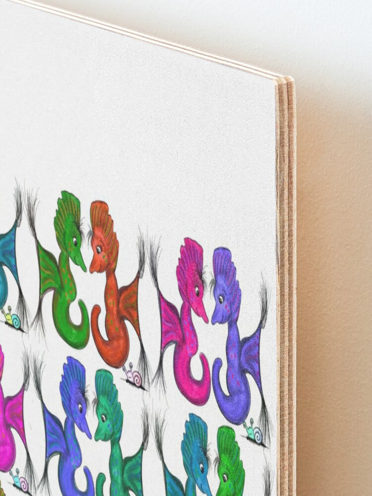 Alternate view of New Sea Love Seahorse Family Rainbow Mounted Print