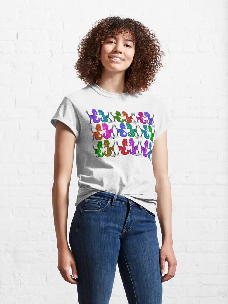Alternate view of New Sea Love Seahorse Family Rainbow Classic T-Shirt