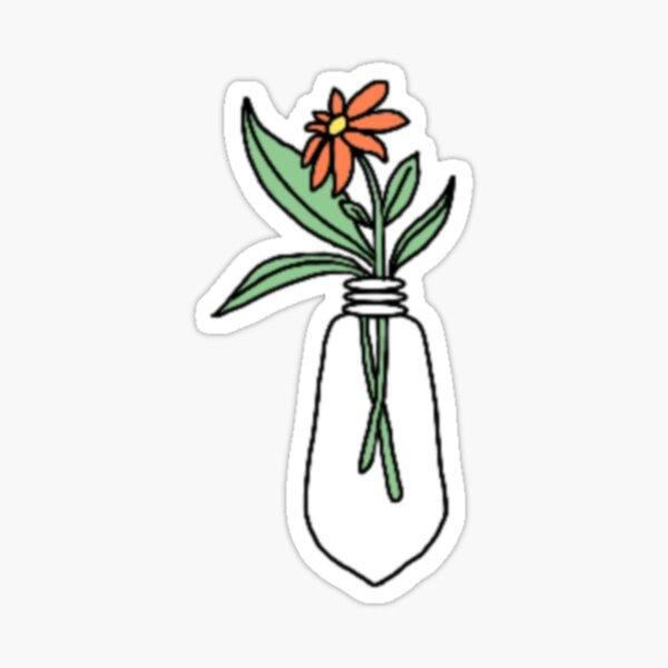 Orange Flower Lightbulb Design Glossy Sticker