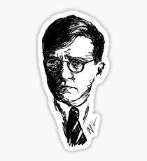 Shostakovich drawing in black on white Sticker