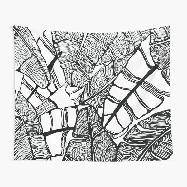 Simple Black Line Plant Art Tapestry