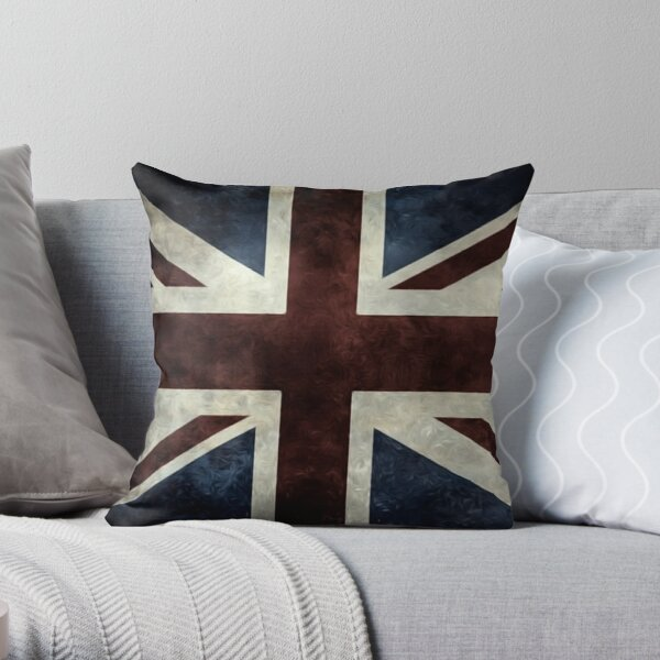 A grunge looking distressed Union Jack uk version Throw Pillow