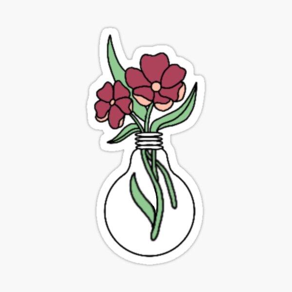 Dark Pink Flower Lightbulb Design Glossy Sticker
