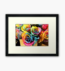 Colorful Bouquet of Rainbow Roses Framed Print